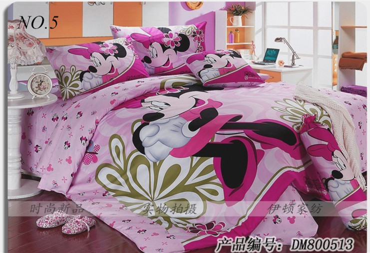 Minnie Mouse Bedding Sets Kids Print Set 4pcs Bedclothes 100 Cotton Duvet Comforter Quilt Cover Double King Queen Size In From Home