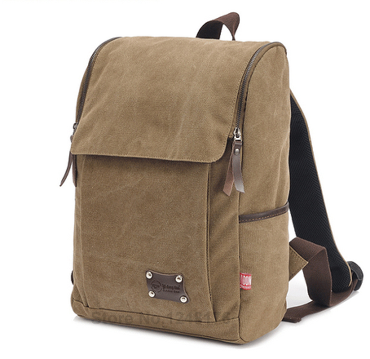 Backpacks Solid Zipper Cover Vintage Canvas Backpack Bag Mochilas Masculinas Rucksack Bagpack School Bags