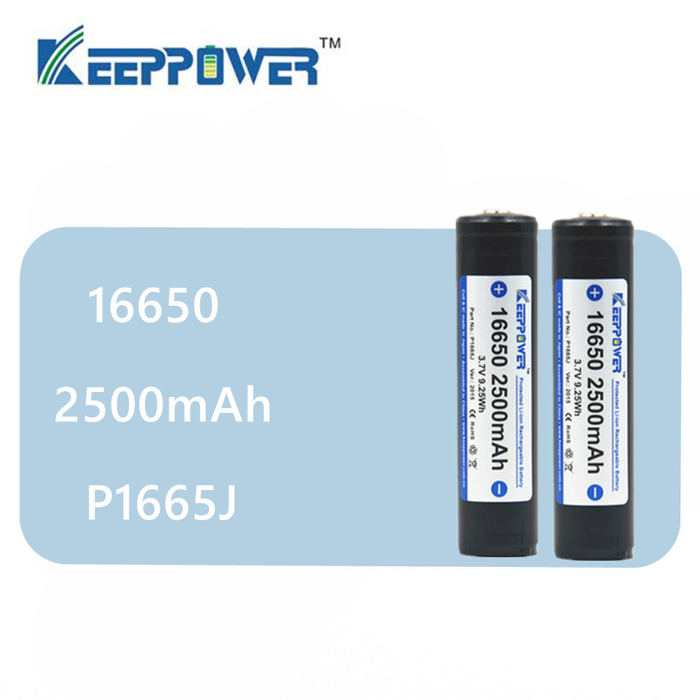 2 pcs KeepPower <font><b>16650</b></font> 2500mAh protected lithium rechargeable <font><b>battery</b></font> P1665J 3.7V drop shipping image