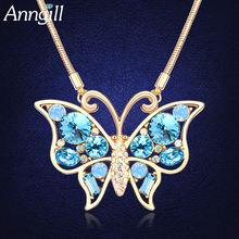 Роскошное длинное ожерелье с кристаллами Сваровски и бабочками