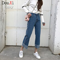 2017 New Autumn  spring Slim Straight Vintage High Waist Jeans women pants full length pants loose women jeans