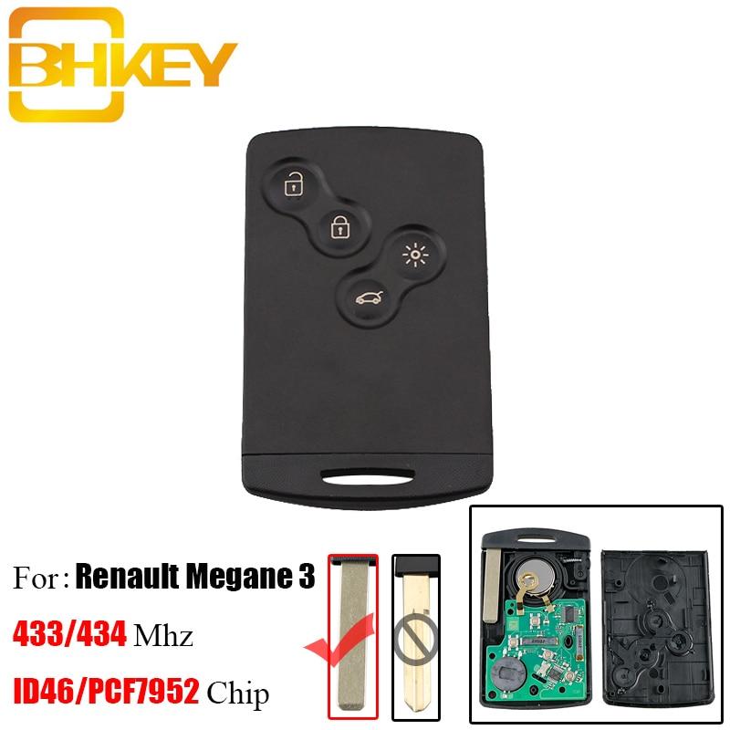 BHKEY Remote-Key-Keyless Pcf7952-Chip Fluence Scenic Megane-Iii Laguna Renault 4buttons