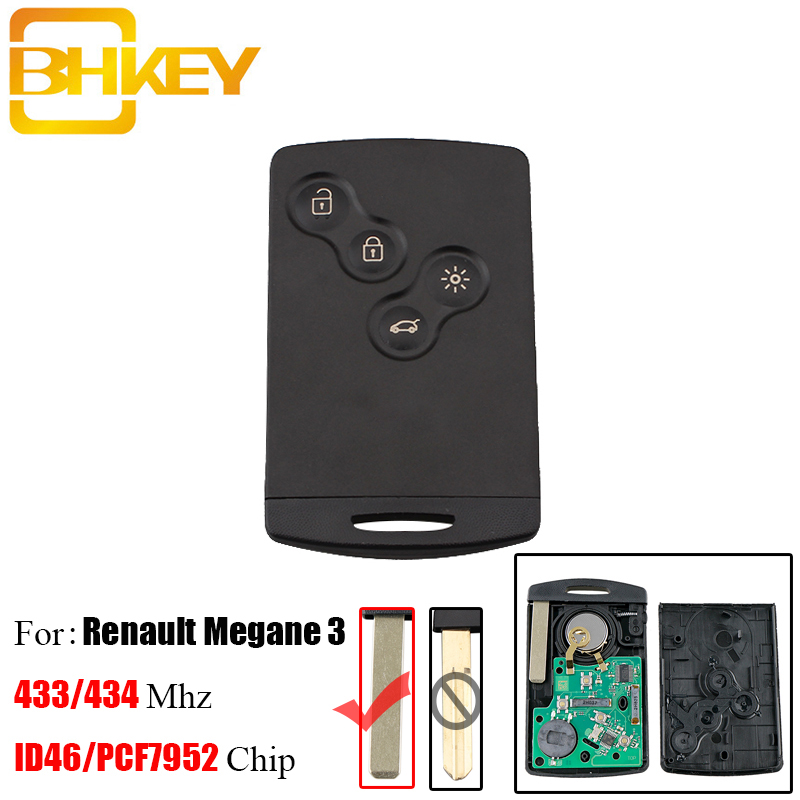 BHKEY 4Buttons Smart Remote Key Keyless Fob 433Mhz PCF7952 Chip For Renault Laguna III Megane III  Fluence Scenic Remote keysBHKEY 4Buttons Smart Remote Key Keyless Fob 433Mhz PCF7952 Chip For Renault Laguna III Megane III  Fluence Scenic Remote keys