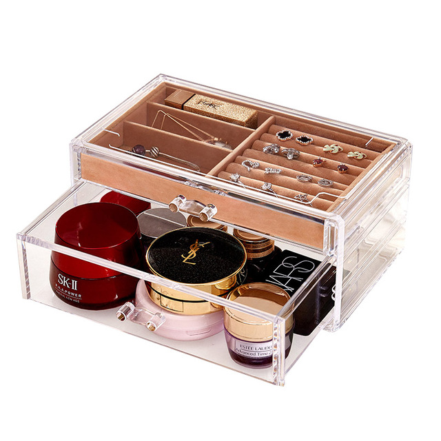 Simple Transparent Acrylic Two layers Drawer jewelry storage box cosmetic storage box desktop jewelry box