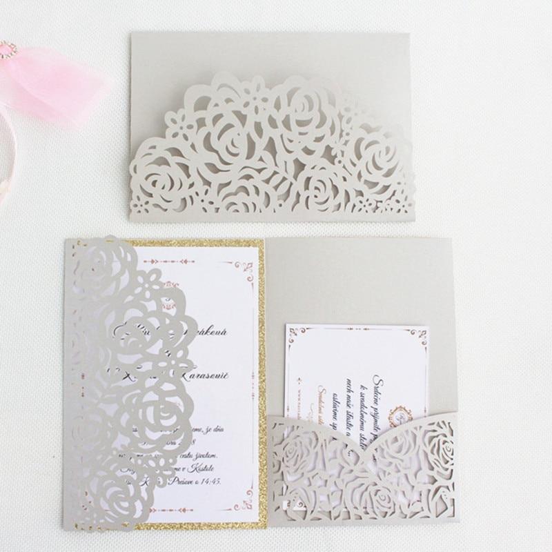 Silver envelopes for invitations rose laser cut tri fold pocket rural card invitation set RSVP personalized