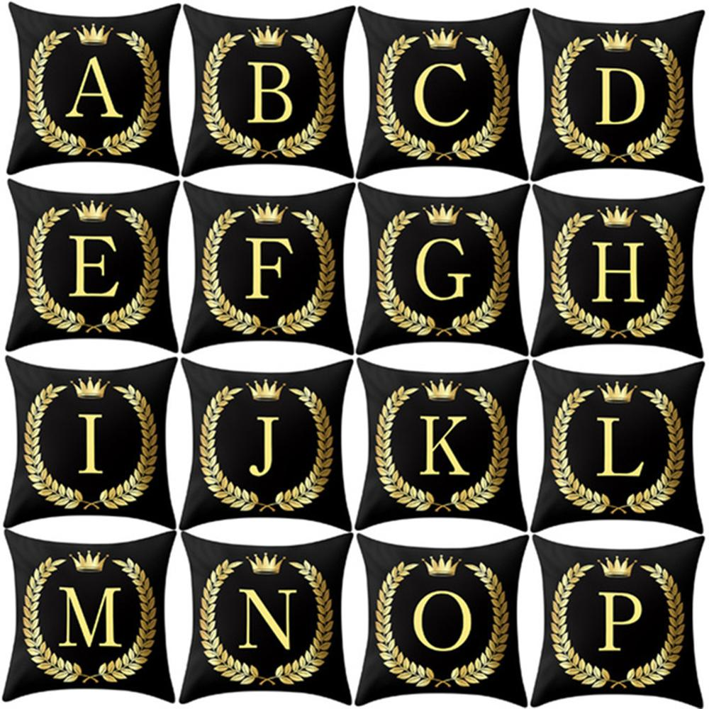 26 English Alphabet Pillows Black And Gold Letter Pillowcase Sofa Cushion Cover Home Decoration Letter Pillows 45*45 Cm