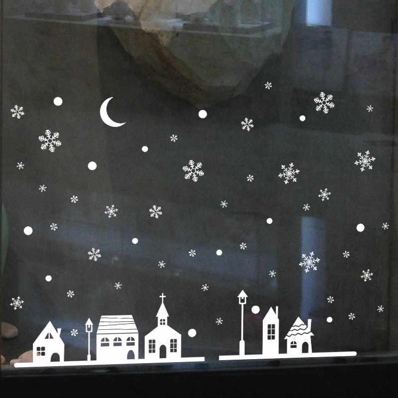 חג המולד Snowflake חלון מדבקת חורף קיר מדבקות חדר ילדים חג המולד דקור לבית חדש שנה מדבקות פתיתי שלג