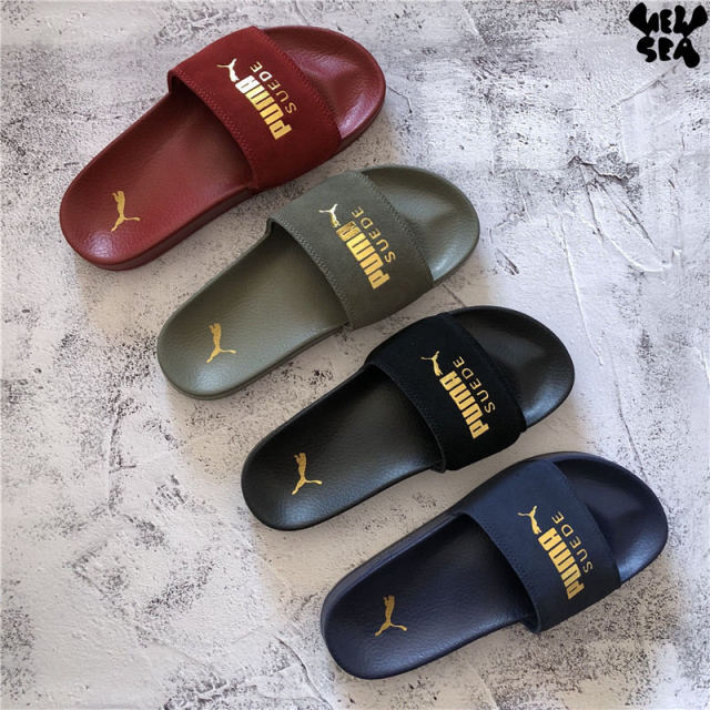 reputable site 94a33 f4226 US $36.89 5% OFF|2018 New PUMA Unisex PUMA Men's Women's Leadcat Suede  Slide Classic Waterproof Beach Slippers Size 35.5 44-in Badminton Shoes  from ...