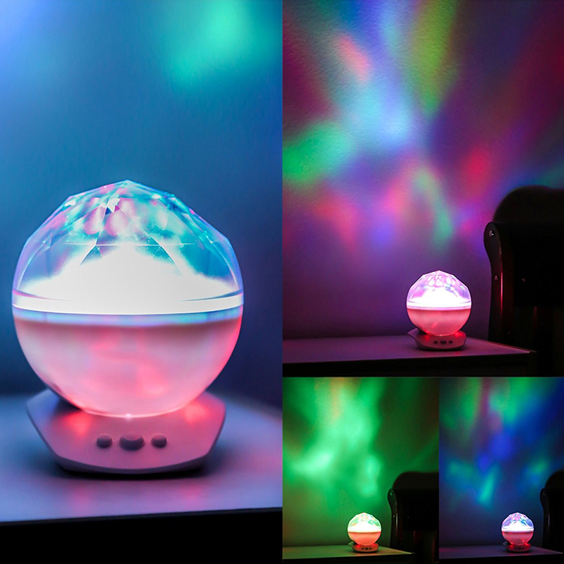 LED Night Light Aurora Sky Cosmos Ocean Wave decor Projector lamp Music Color Starry Master USB Diamond cosmos Nurs bedside kids