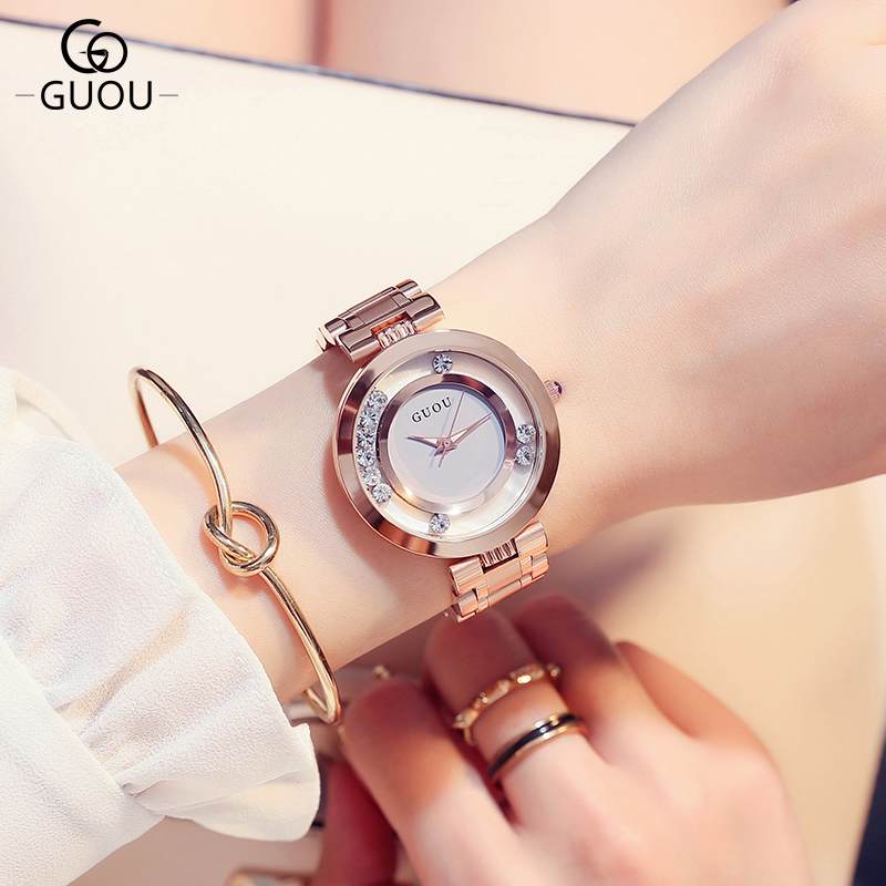 GUOU 2017 Fashion Wrist Watch Women Watches Ladies Luxury Brand Famous Quartz Watch Female Clock Relogio Feminino Montre Femme mance famous brand woman watches 2016 fashion luxury women clock charm wrap around leatheroid quartz wrist watch montre femme
