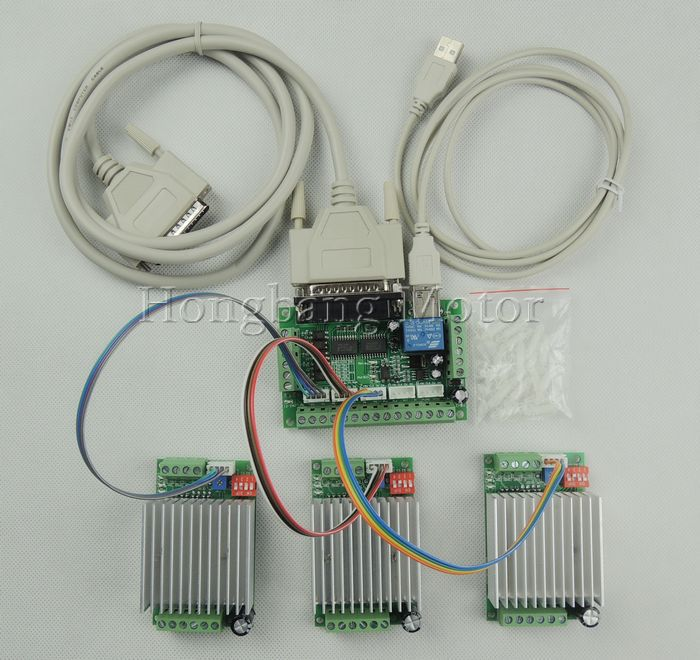 CNC Router 3 Axis Kit,TB6600 3 Axis 0-4.5A Stepper Motor Driver Controller kit for mach3 + one 5 axis breakout board cnc router 4 axis kit tb6600 4 axis mach3 stepper motor driver controller kit 5a one 5 axis breakout board for nema23 motors