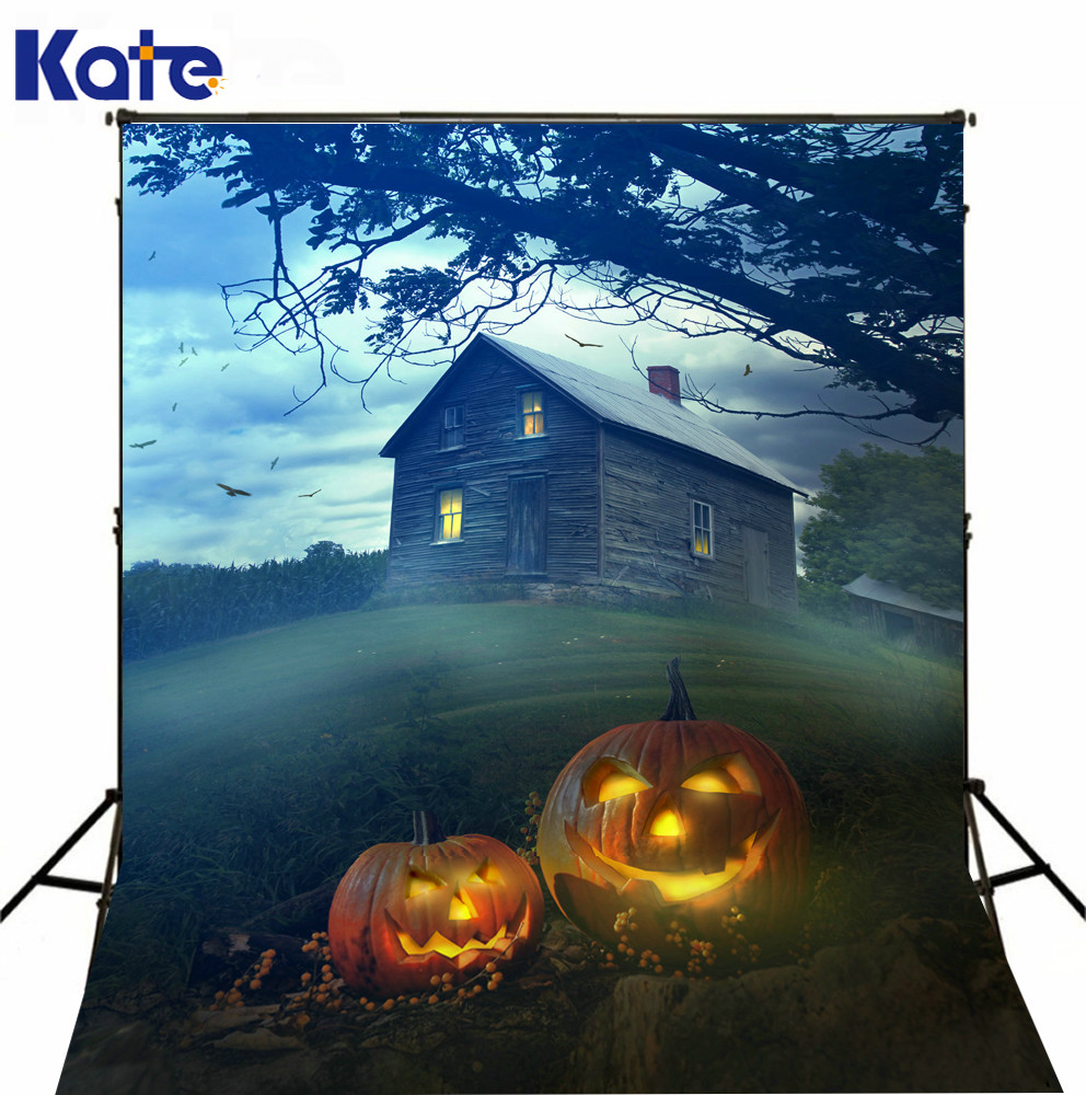 Kate Backdrops Photography Halloween Party Wood House Photo Studio Background For Children Fire Pumpkin Photography plastic standing human skeleton life size for horror hunted house halloween decoration
