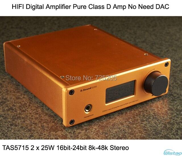 HIFI Digital Amplifier Pure Class D Amp No Need DAC TAS5715 2x25W 16-24bit 8-48k Stereo Support Coaxial Optical USB RCA  Audio