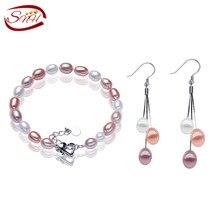 Snh natural perla de la joyería de plata 925 pendientes de perlas y pulsera para la mujer 2015