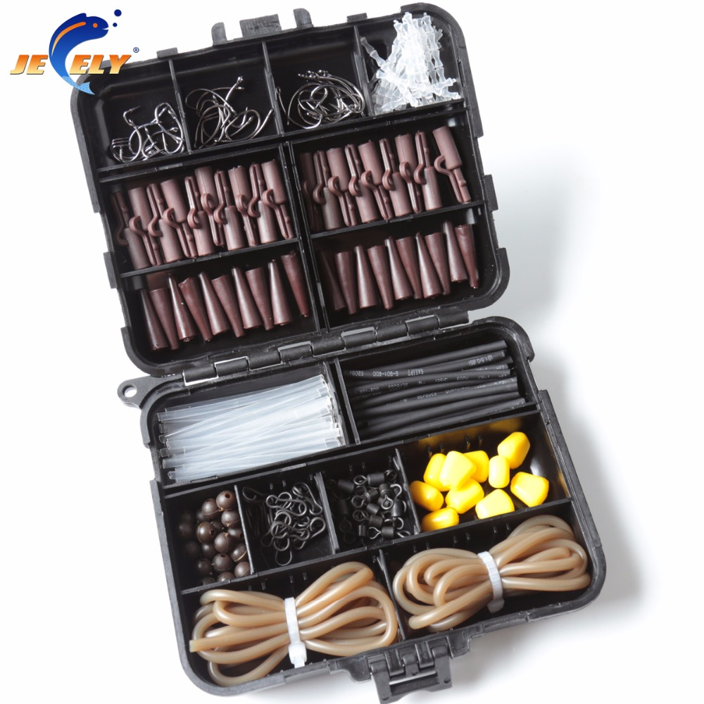 1 Set Carp Fishing Terminal Tackle Set Stopper Hook Swivel Sleeve Sinker Lock Hair Rig Silicone Shrink Tube With Boilies Needle