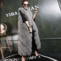 S 3XL 2018 Winter Warm Fashion New Women Faux Fur Vest Faux Fur Long Coat Fox Fur Vest Colete Custom Made feminino outwear L1117