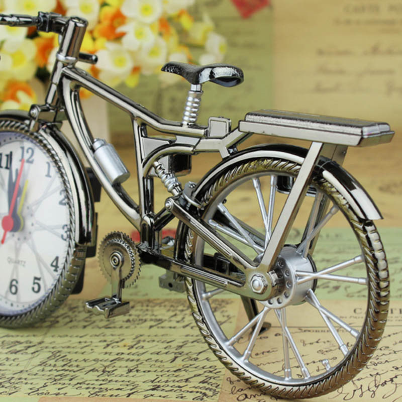Bicycle Home Decor: Vintage Bike Shape Alarm Clock Fun Bicycle Clock Ornaments