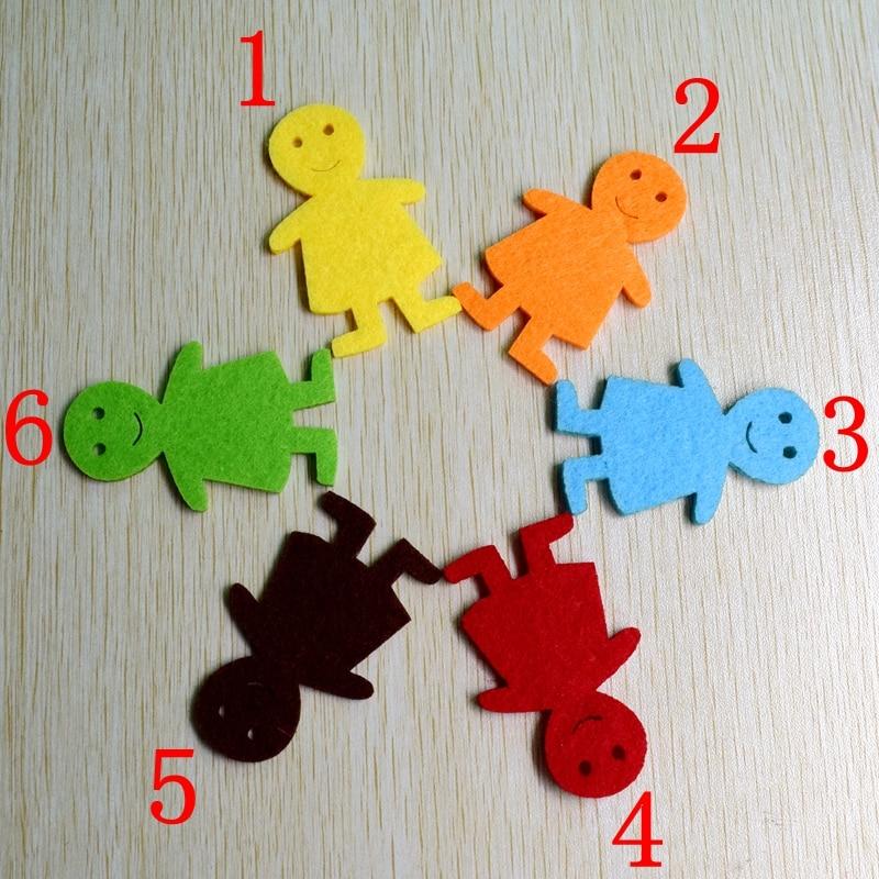 100pcs/lot about 5.8*3.8cm 6 color Felt applique non - woven cute children wedding decoration scrapbooking Accesories, 610