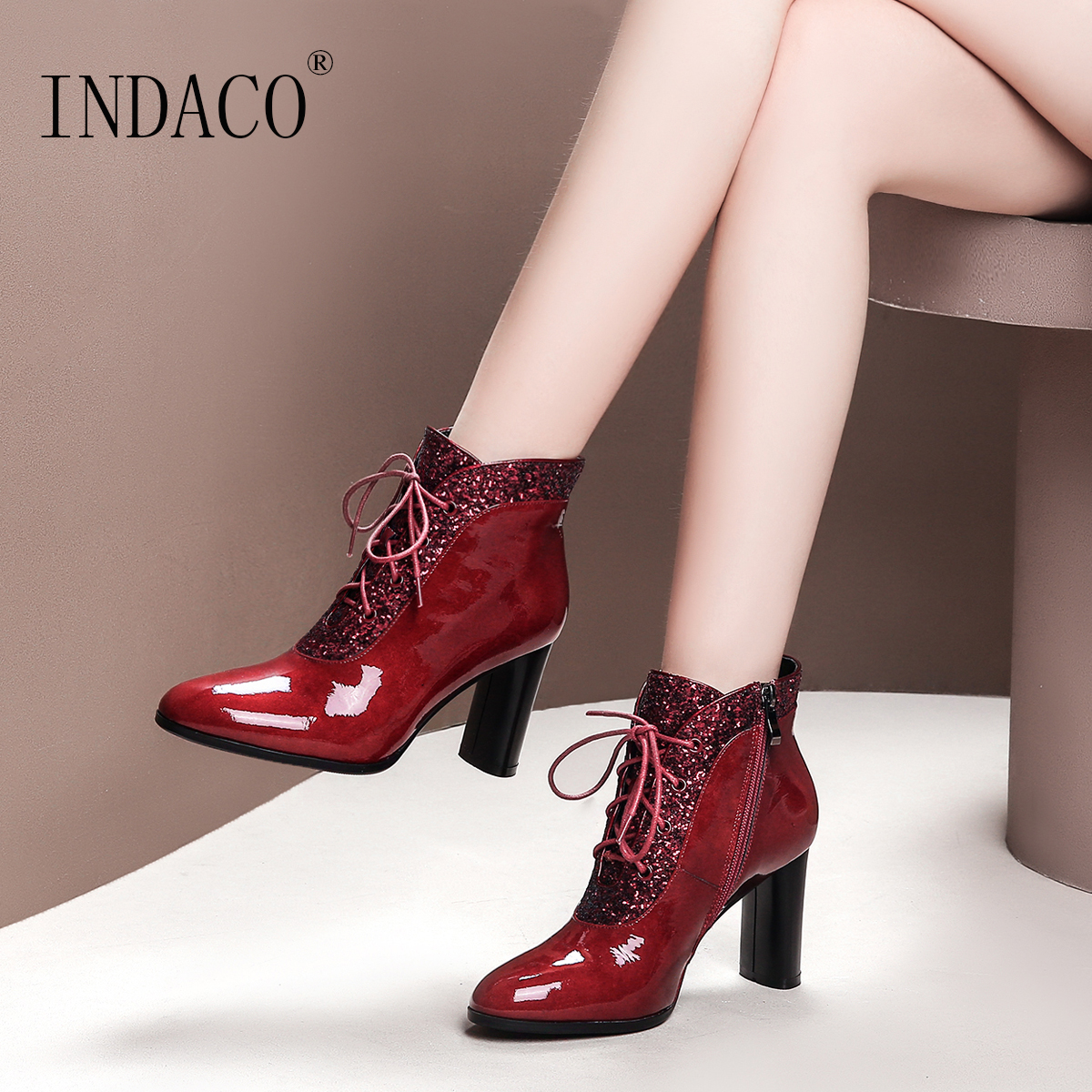 Winter Boots Women Black Burgundy 2018 Boots Women Leather Fashion Sexy Ankle Boots For women цена