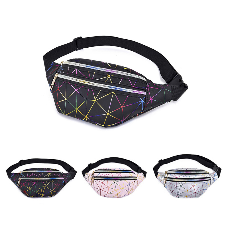2019 New Women Holographic Waist Bag Pockets Geometric Pockets Laser Chest Phone Pouch Bag Fanny Pack Female Belt Bags