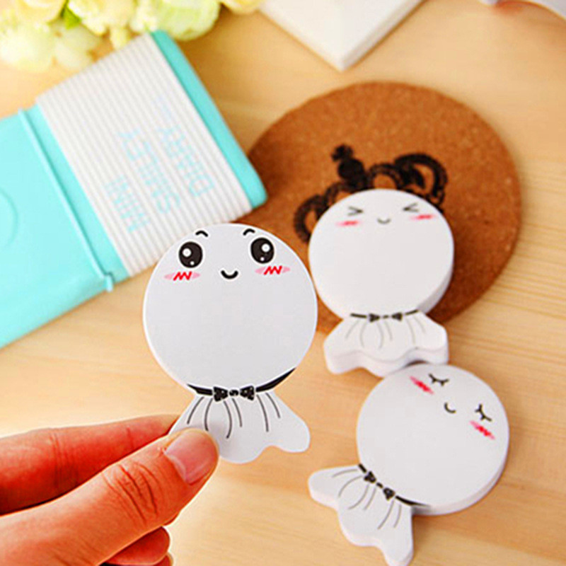 3Pcs Korean Sunny Doll Cute Kawaii Memo Pads Fish Emoji Stationery Store Post it Office Sticky Note Notepad Sticker Scrapbooking