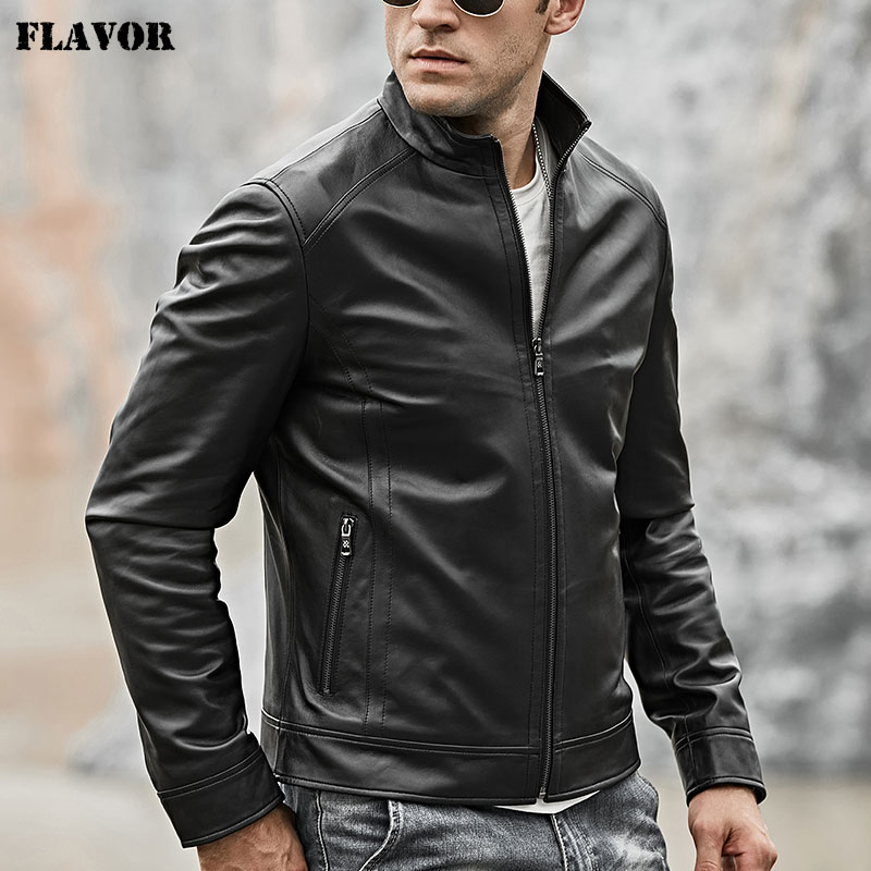 2018 Men's Real Leather Motocycle Jacket Lambskin Genuine Leather With Zipper Closure Winter Coat Black