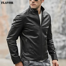 2018 Men's Real Leather Motocycle Jacket Lambskin Genuine Leather with Zipper Closure Winter Coat Black(China)