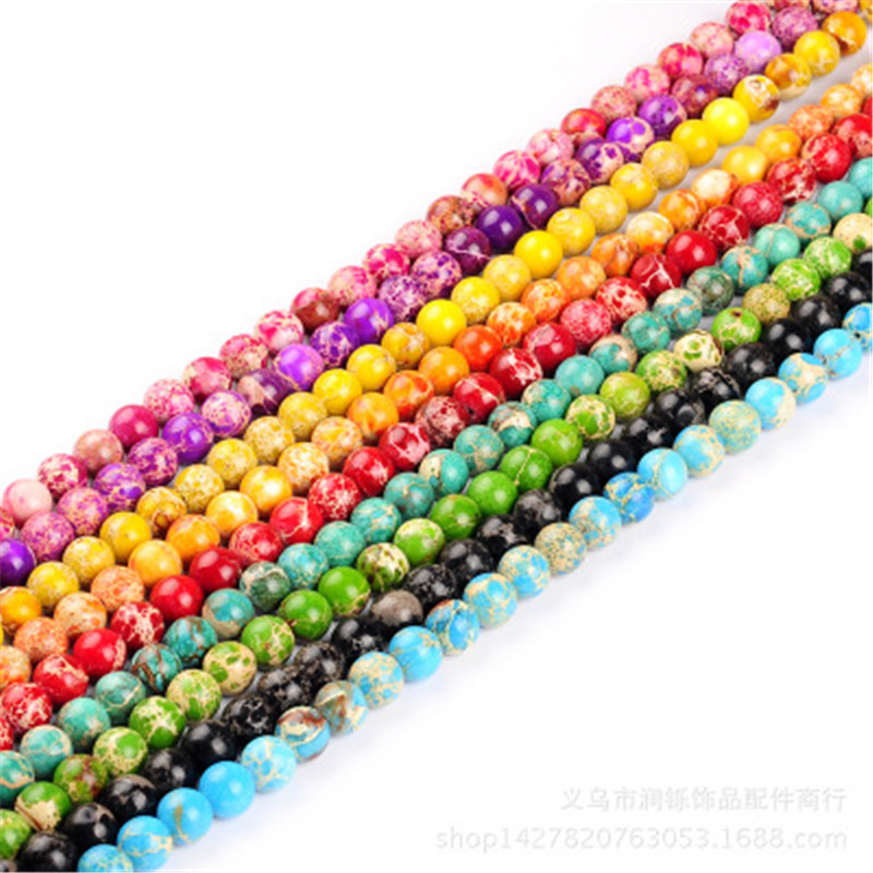 ACLOVEX 1strand Natural Imperial Jaspers Stone Beads 4mm 6mm 8mm 10mm 12mm Round Loose Spacer Beads For Diy Jewelry Making 8mm 1 set round beads natural stone beads including buddha skull beads elastic string kit beads for jewelry making bracelet diy