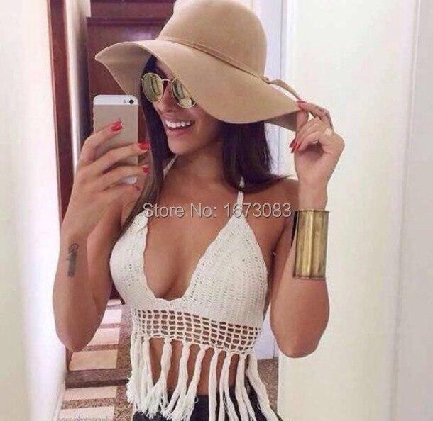 b008fd9c155 Sexy hawaiian brazilian Knit Bra bralet retro tassel Beach crochet bikini  top strappy bustier halter crop top strappy bralette