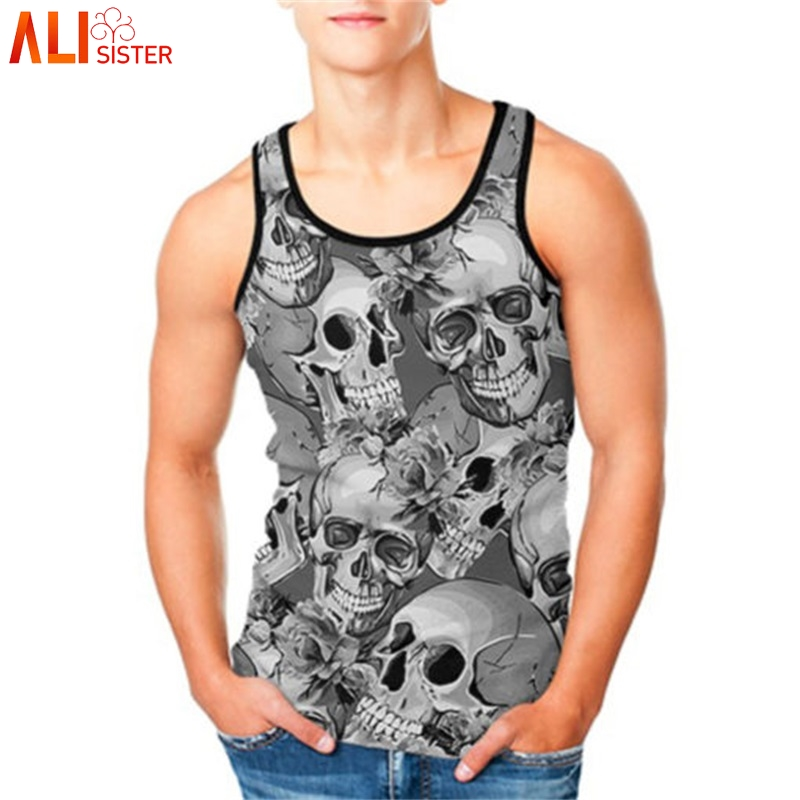 Alisister Plus Size Beach   Tank     Top   Men 3d Skull Print Punk Vest Male Female Sleeveless Bodybuilding Fitness Undershirts Summer