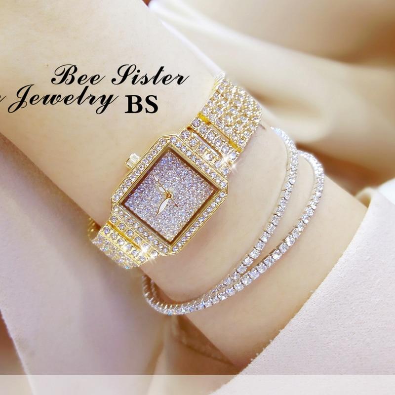 New Fashion Brand Women Full Diamond free Bracelet Watch Set Lady Luxury Dress