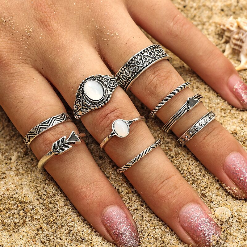OUMEILY Tibetan Antique Silver Color Knuckle Ring For Women Boho Jewelry Fashion Opal Round Bohemia Vintage Finger Rings Set