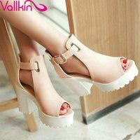 Pink Buckle Strap PU Leather Lady Platform Wedding Shoe Summer Peep Toe Women Sandals Thick High