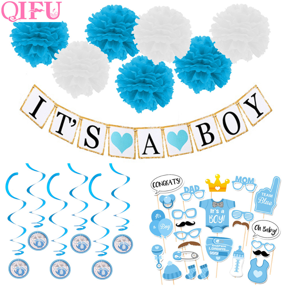 QIFU 1st Birthday Balloons One Years Old Cake Toppers Boy Girls Favors Photo Booth Props 1th Baby Shower BIrthday Paty Supplies