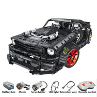 RC Ford Mustang Hoonicorn RTR V2 Technic Super Racing Car With Motor 20102 MOC 22970 Building Blocks Bricks with LED light toys