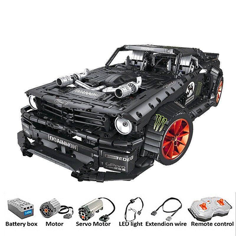 Rc ford mustang tijolos 2019 hoonicorn rtr v2 técnica super carro de corrida com motor blocos de construção com luz led crianças brinquedos presentes