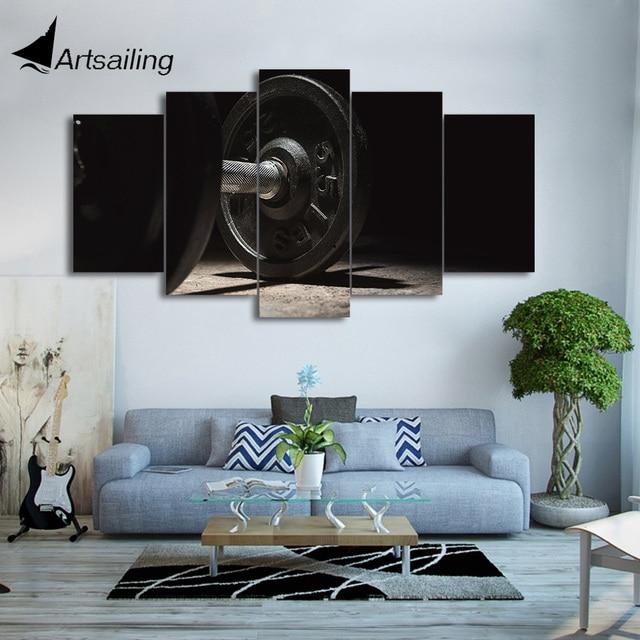 HD Impresso 5 Peça Canvas Art Ginástica Dumbell Preto Pintura De Parede  Pictures Para Sala De