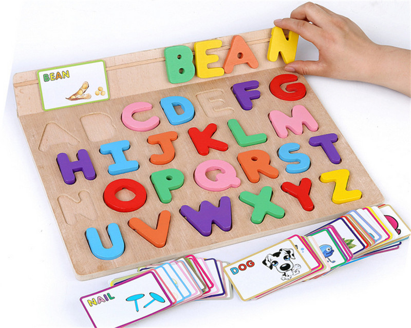 New wooden toy 26 piece English letter pictures learning board wooden puzzle baby gift baby educational toy Free shipping