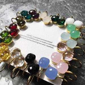 Image 1 - Slzely pendientes de lujo con forma de gota cuadrada para mujer, aretes, 3 colores, Color dorado, 23 colores, cristal facetado
