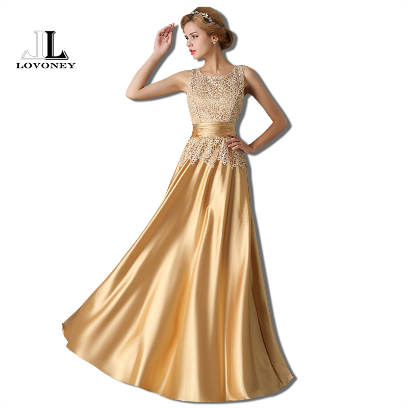 LOVONEY T403 Elegant Long Prom Dresses 2017 A Line O Neck Gold Prom ...
