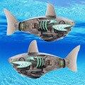 Engraçado Robô Alimentado Por Bateria Peixe Tubarão Peixe Eletrônico Iluminação Brinquedo Brinquedos de Banho de Natação Preto para o Bebê