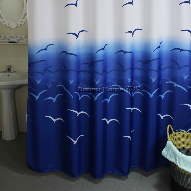 New Modern Style Polyester Cloth Shower Curtain Waterproof Thickening Bathroom