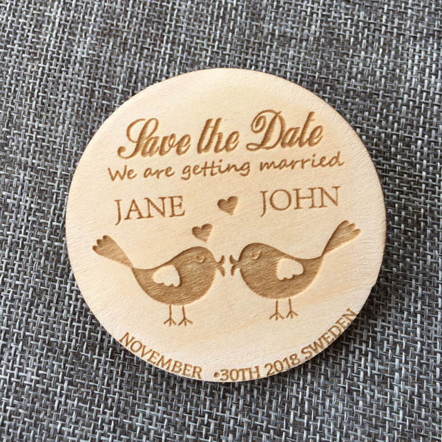Sweet Birds Save the Date, personalized Wood magnet, Wedding