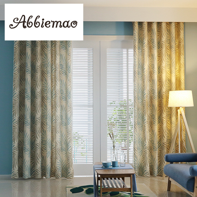 Dining Room Window Curtains: Abbiemao Linen Curtain Leaves Printing American Style