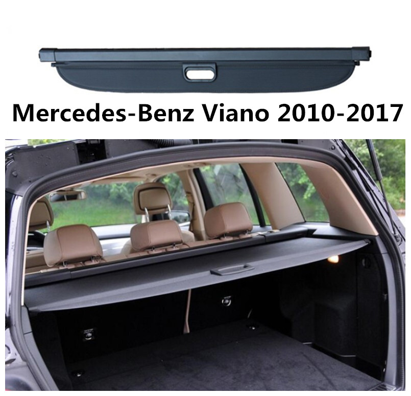 For Mercedes-Benz Viano 2010-2017 Car Rear Trunk Security Shield Cargo Cover High Qualit Black Beige Auto Accessories car rear trunk security shield cargo cover for dodge journey 5 seat 7 seat 2013 2014 2015 2016 2017 high qualit auto accessories