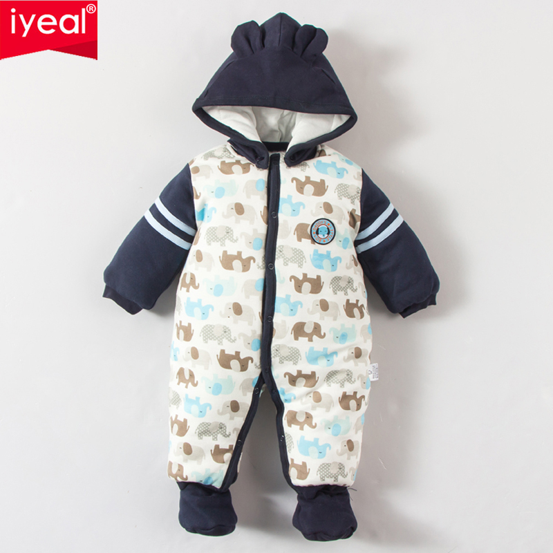 IYEAL 2017 New Fashion Winter Newborn Infant Printed Romper Baby Boy Thick Warm Cotton padded Hooded Jumpsuits for 0-12Months iyeal 2017 winter thick warm newborn baby clothes kids boy cotton long sleeve cute print romper toddler infant overalls 0 12m