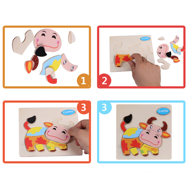Cartoon Wooden 3D Puzzle