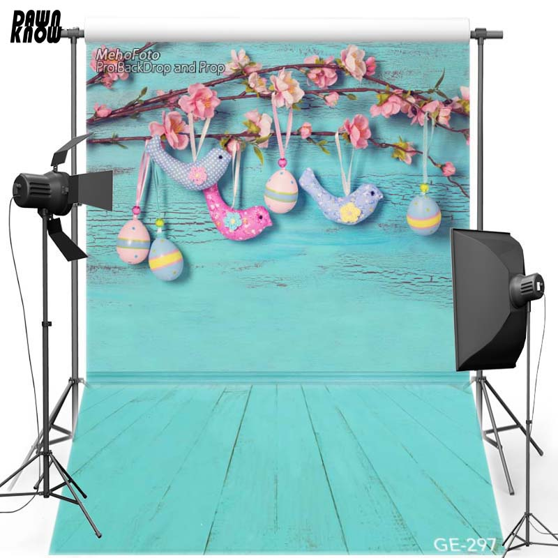 DAWNKNOW Ovo de Páscoa Feliz Vinyl Fotografia Fundo Para Crianças Azul Chão pano de Fundo De Poliéster Para Recém-nascidos Photo Studio GE297