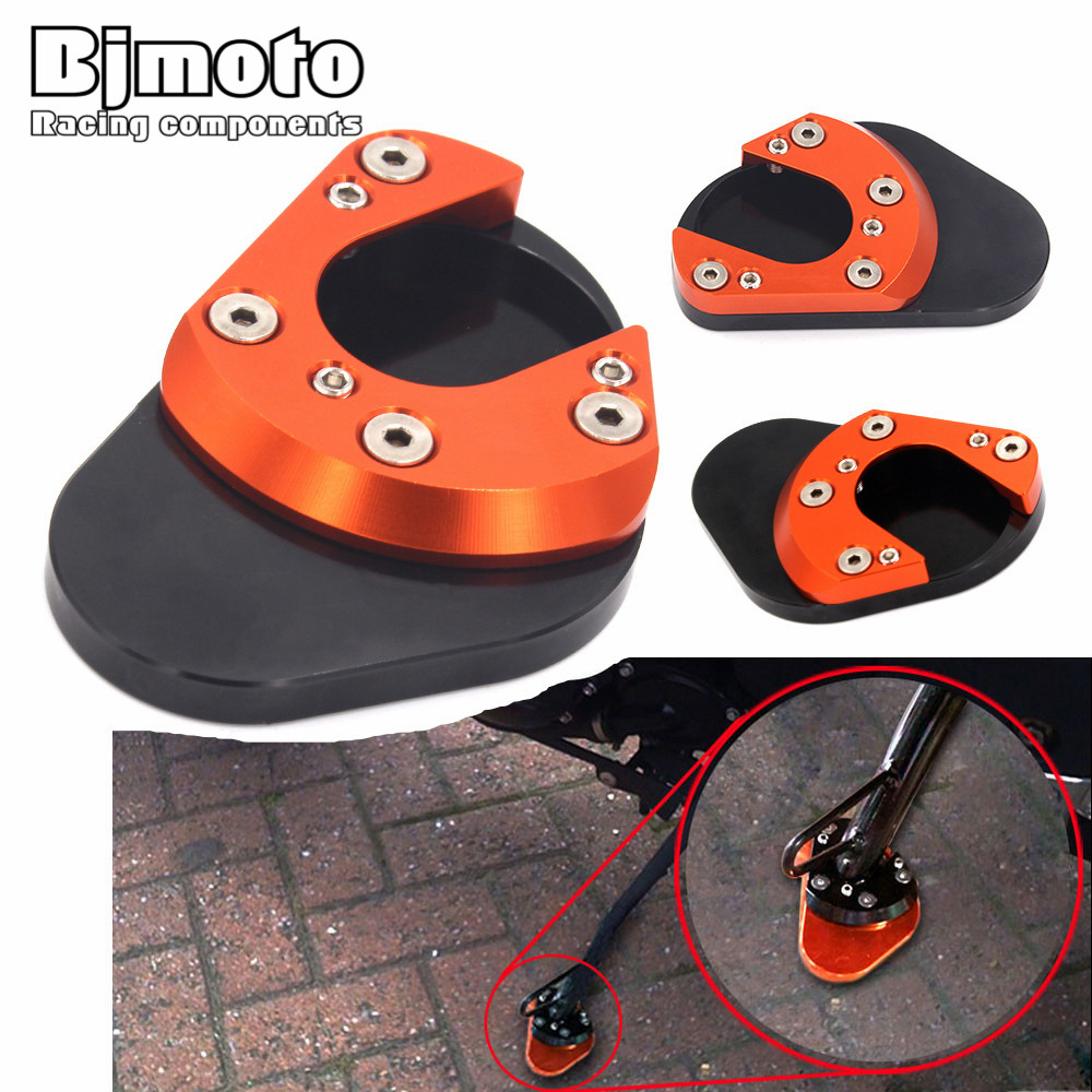 Bjmoto Motorcycle CNC Aluminum Side Stand Enlarger For KTM DUKE 125 200 390 2013 2014 2015 2016 2017 RC 390 2014-2017 RC 125 200 for bmw f800r 2009 2012 2013 2014 hp2 08 motorcycle cnc aluminum side stand enlarger cnc kickstand pate pad side stand enlarger