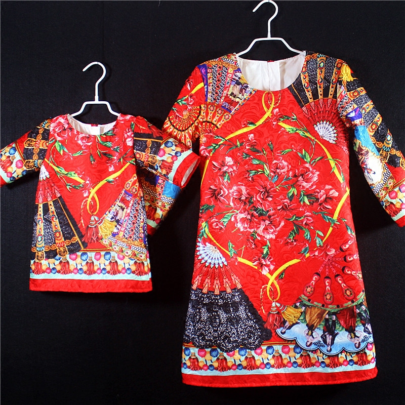 Brand design family look clothes momy and me girl 1Y-16Y women 3XL plus size palace vintage dress mom and daughter party dresses plus size textured pocket design dress page 5
